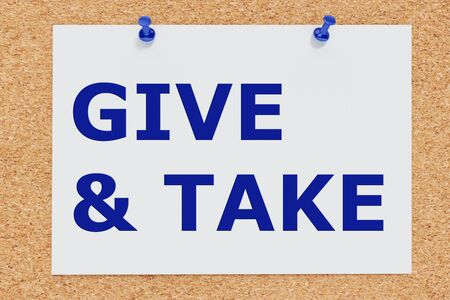 3D illustration of GIVE & TAKE on cork board