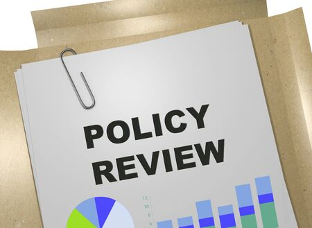 3D illustration of POLICY REVIEW title on business document