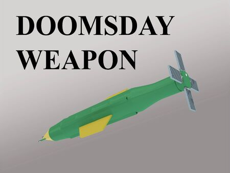 3D illustration of a huge bomb, isolated on gray gradient, titled as DOOMSDAY WEAPON.