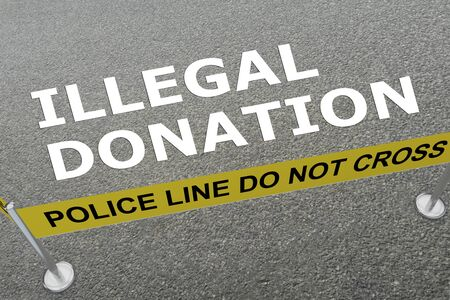 3D illustration of ILLEGAL DONATION title on the ground in a police arena