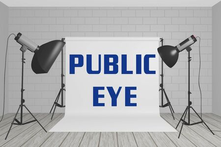 3D illustration of PUBLIC EYE title on a white screen in a photographic studio