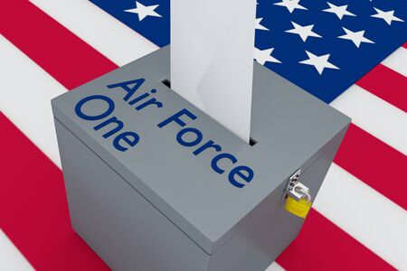 3D illustration of Air Force One script on a ballot box, with US flag as a background.