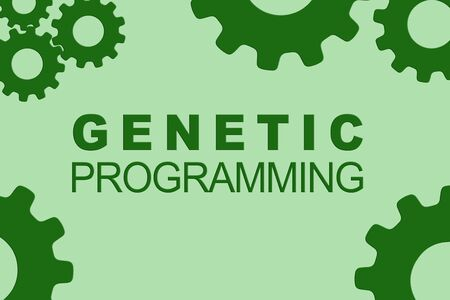 GENETIC PROGRAMMING sign concept illustration with green gear wheel figures on pale blue background