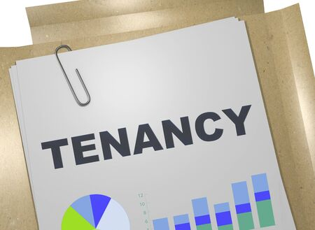 3D illustration of TENANCY title on business document Imagens