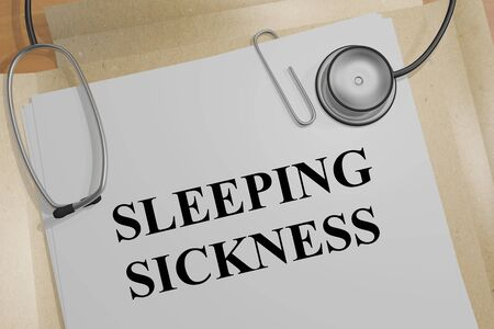 3D illustration of SLEEPING SICKNESS title on a medical document