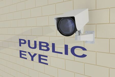 3D illustration of PUBLIC EYE title under security camera which is mounted on brick wall
