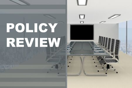 3D illustration of POLICY REVIEW title on a glass compartment Stock Photo