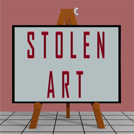 3D illustration of STOLEN ART title on a tripod display board