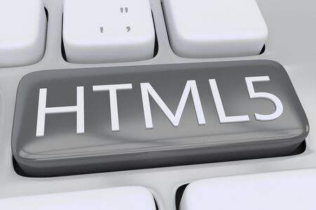 3D illustration of computer keyboard with the script HTML5 on a gray button