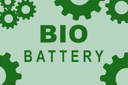 BIO BATTERY sign concept illustration with green gear wheel figures on pale green background Reklamní fotografie