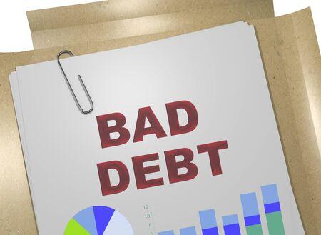 3D illustration of BAD DEBT title on business document