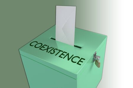 3D illustration of COEXISTENCE script on a ballot box, and an voting envelope been inserted into the ballot box, isolated over a colored gradient.