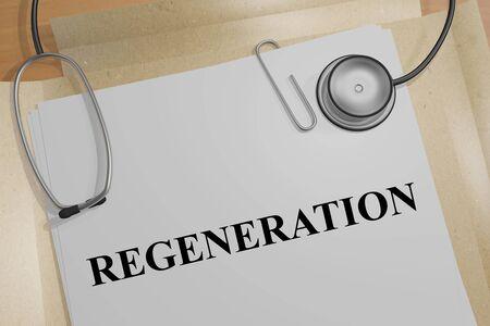 3D illustration of REGENERATION title on a medical document