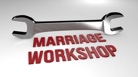 Marriage workshop title concept illustration. 3D render illustration.