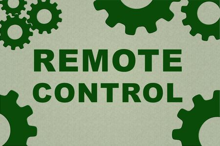 REMOTE CONTROL sign concept illustration with green gear wheel figures on pale green background Stock Photo