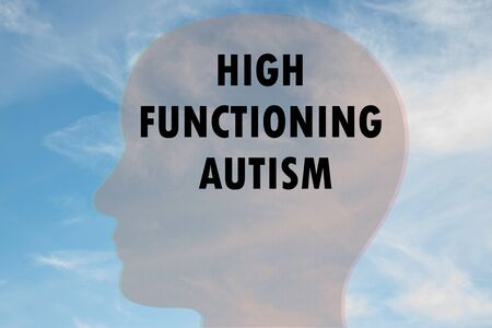 Render illustration of HIGH FUNCTIONING AUTISM on head silhouette, with cloudy sky as a background.