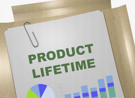 3D illustration of PRODUCT LIFETIME title on business document