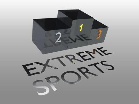 3D illustration of podium, isolated on pale gray gradient, along with EXTREME SPORTS title.