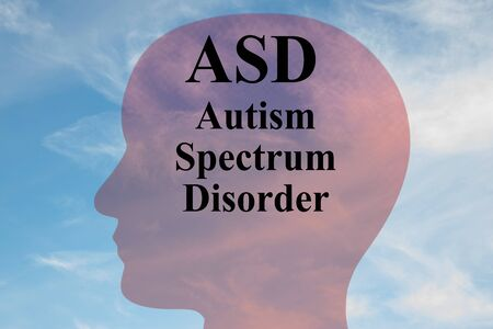 Render illustration of ASD Autism Spectrum Disorder title on head silhouette, with cloudy sky as a background.