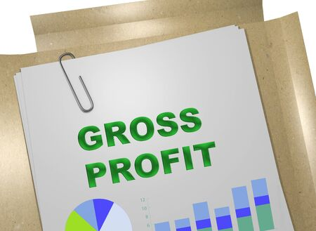 3D illustration of GROSS PROFIT title on business document