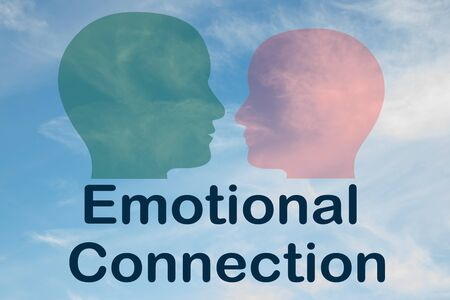 Render illustration of Emotional Connection title under two head silhouettes, with cloudy sky as a background.