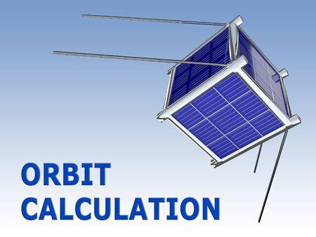 ORBIT CALCULATION script under a 3D illustration of nano satellite Stok Fotoğraf