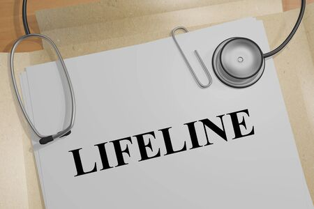 3D illustration of LIFELINE title on a medical document Stock Photo