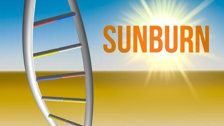 Sunburn risk factor for DNA damages concept. 3D render illustration.