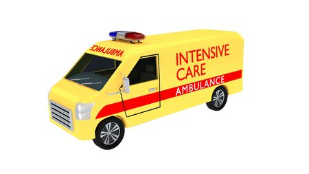 3D illustration of an intensive care ambulance, isolated on white
