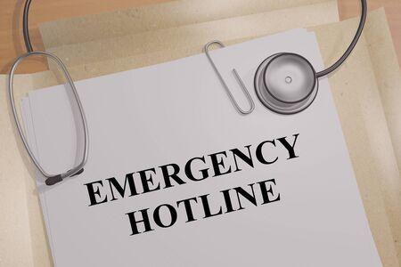 3D illustration of EMERGENCY HOTLINE title on a medical document Imagens