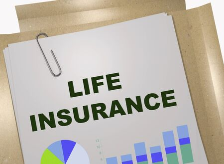 3D illustration of LIFE INSURANCE title on business document Imagens