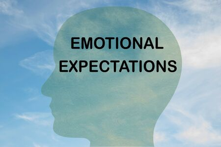 Render illustration of EMOTIONAL EXPECTATIONS title on head silhouette, with cloudy sky as a background. Фото со стока
