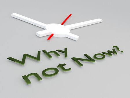 3D illustration of Why not Now? title with a clock as a background
