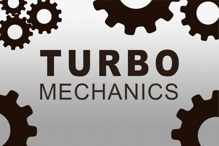 TURBO MECHANICS sign concept illustration with dark brown gear wheel figures on gray background