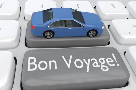 3D illustration of computer keyboard with the script Bon Voyage! on a gray button, and a car placed on another button.