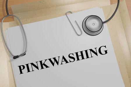 3D illustration of PINKWASHING title on a medical document