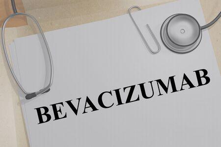 3D illustration of BEVACIZUMAB title on a medical document Imagens