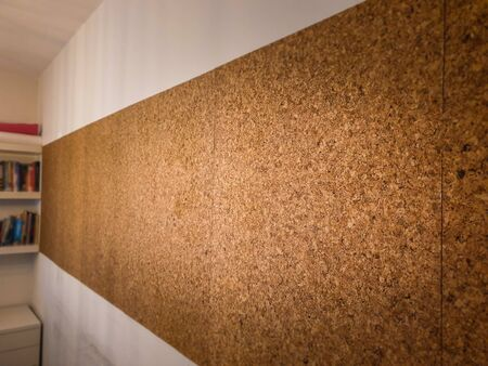 Large size cork vision board from side to side on study room wall 写真素材