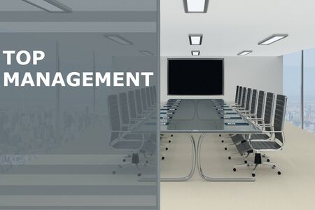 3D illustration of TOP MANAGEMENT title on a glass compartment