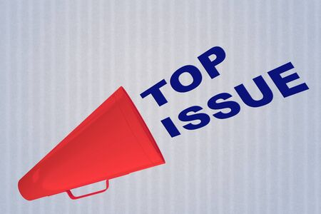 3D illustration of TOP ISSUE title flowing from a loudspeaker