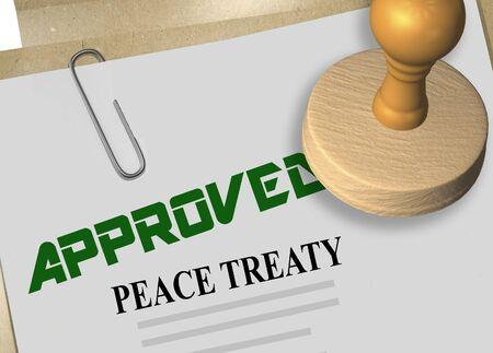 3D illustration of PEACE TREATY stamp title on credit application document Stok Fotoğraf