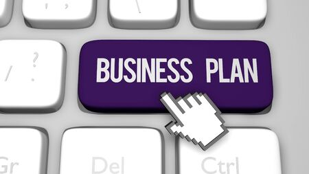 3D render illustration of Business plan keyboard button key Imagens