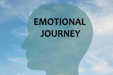 Render illustration of EMOTIONAL JOURNEY title on head silhouette, with cloudy sky as a background.