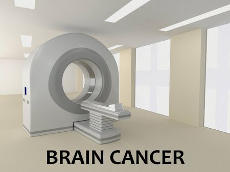 3D illustration of BRAIN CANCER title with a scanner as a background.