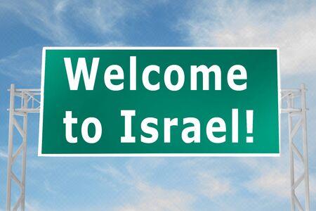 3D illustration of Welcome to Israel script on road sign Banco de Imagens