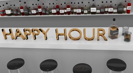 3D illustration of HAPPY HOUR title on the counter in a pub 写真素材