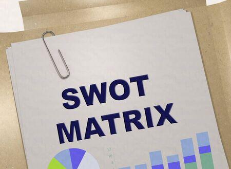 3D illustration of SWOT MATRIX title on business document 写真素材