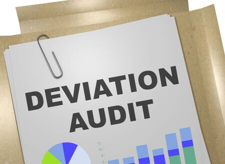 3D illustration of DEVIATION AUDIT title on business document