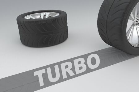 3D illustration of TURBO title with two tires as a background