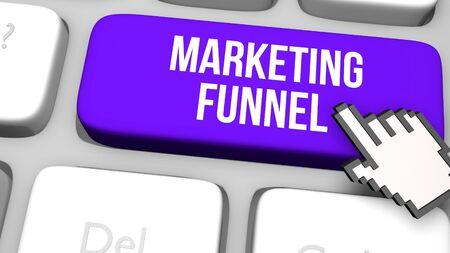 Marketing funnel digital market concept. 3D render illustration.